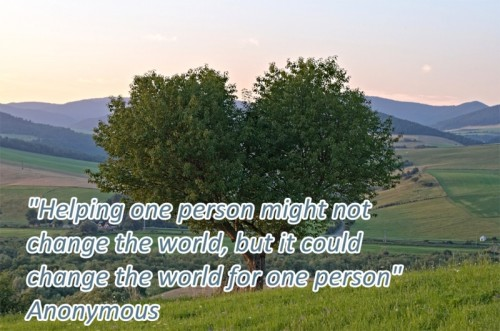 "Counsellor & Psychotherapist, Donegal Town, Ireland - quote - ""Helping one person might not  change the world, but it could  change the world for one person""  Anonymous"